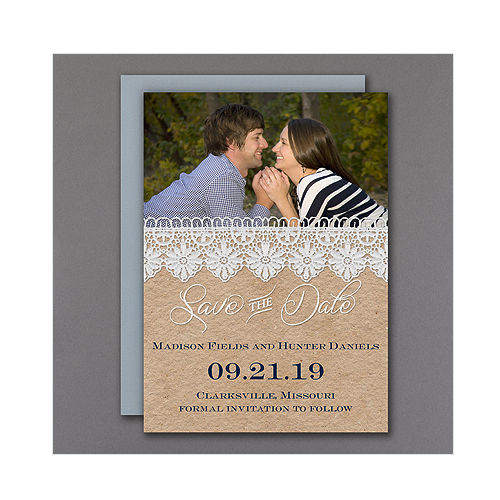 100 Personalized Rustic Lace Barn Photo Wedding Save the Date Magnets!