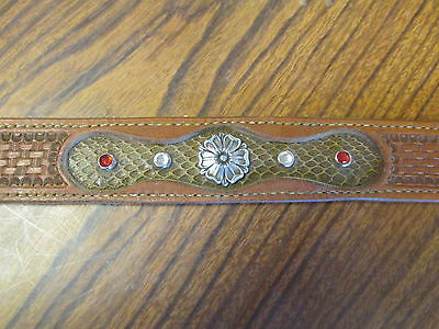 New Handmade womens belt inlaid snake skin and crystals rodeo western size 28