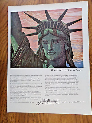 1951 John Hancock Life Insurance Ad Statue of Liberty Where She is There is Home