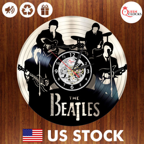 The Beatles Vinyl Record Wall Clock Handmade Original Gift Decor Black Silver US