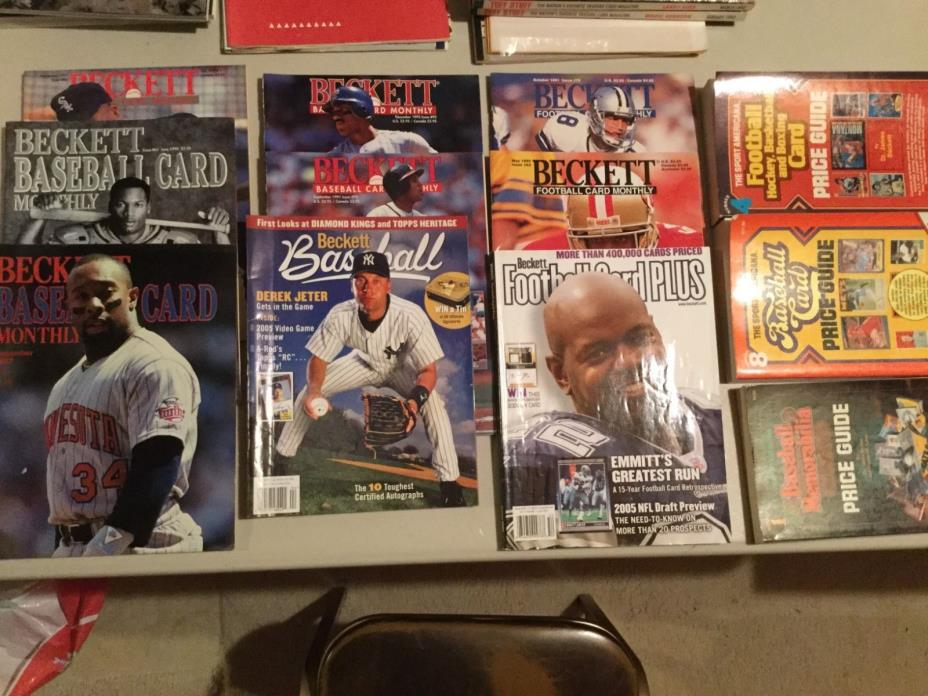 12 Price Guide Baseball Football Cards Beckett 1982-2005 Bo jeter Puckett Deion