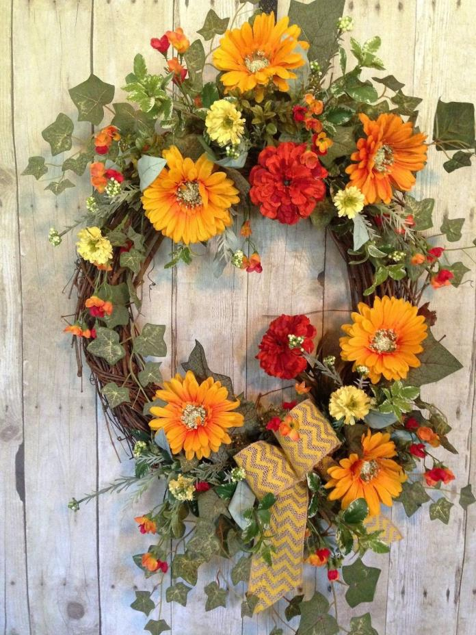 SPRING and SUMMER DOOR WREATH FOR FRONT DOOR- GRAPEVINE OUTDOOR SILK  WREATH