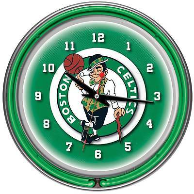 Boston Celtics NBA Chrome Double Ring Neon Clock [ID 127808]