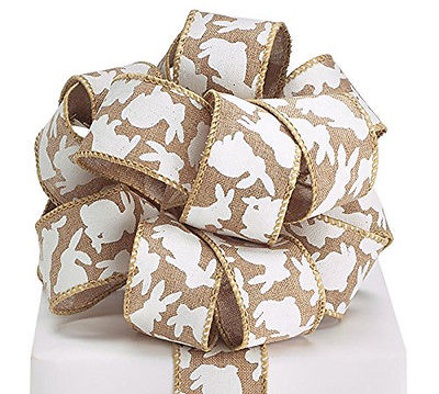 Burton White Easter Bunnies on Natural Burlap Look #9 Ribbon