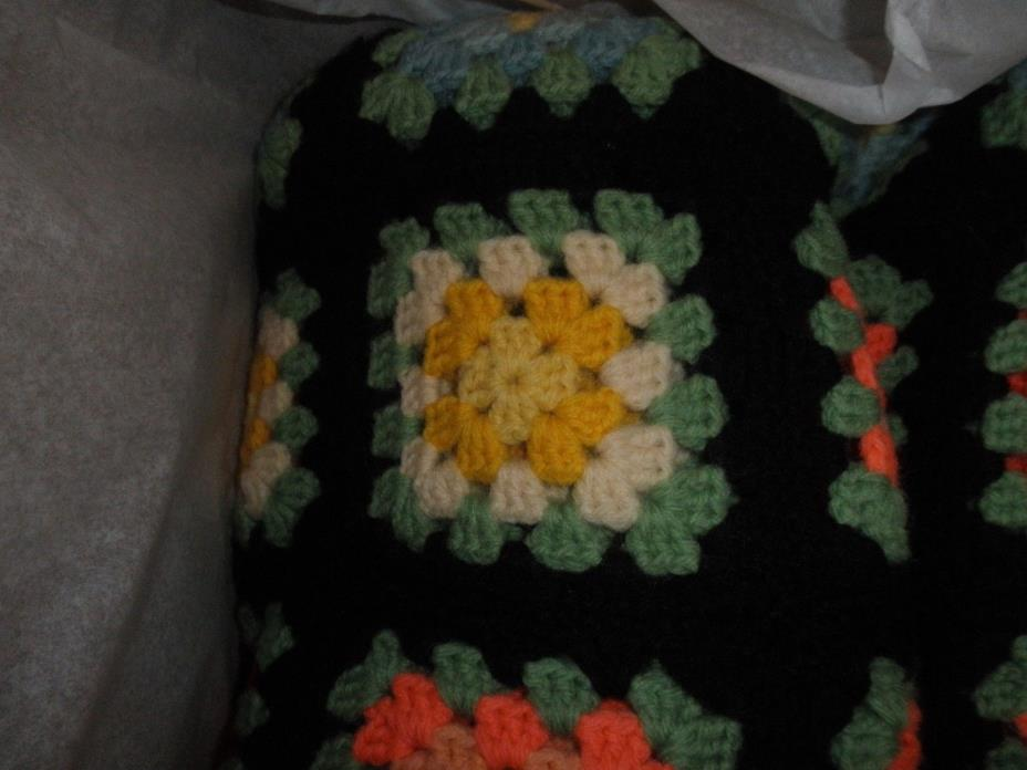 AFGHAN HAND CROCHETED BLACK BORDER, YELLOW,WHITE, AND PINK SQUARES