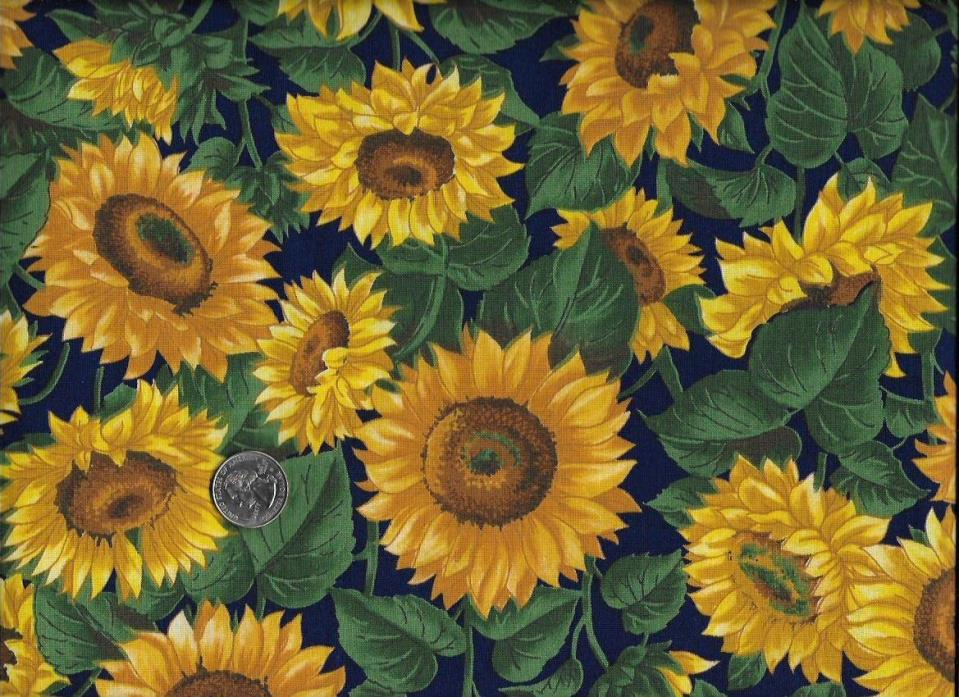 Large Golden Sunflowers Cotton Fabric 1 1/2 Yards Quilt Craft Sew!