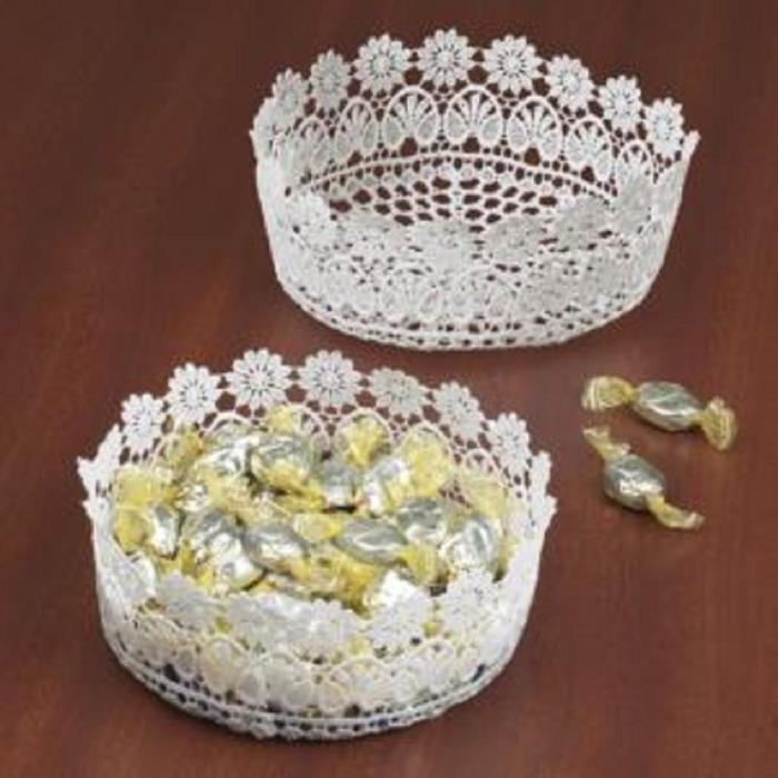 Floral Polyester Lace Bowl, White 6 1/2