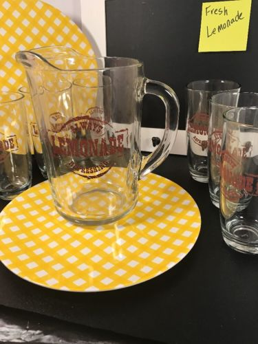 VTG RETRO Libby Lemonade Tea Set ICE TEA LEMONADE WATER PITCHER Clear Glass 7