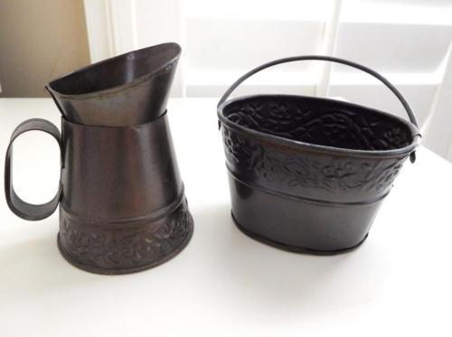 Set Of 2 Decorative Bronze Color Metal Floral Antique Miniature Pitcher & Bucket