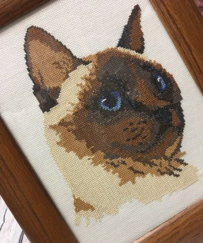 Siamese Cat Completed Cross Stitch Framed Finished Kitten Wall Decor Needle Art