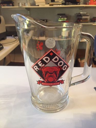 Red Dog Glass Beer Pitcher