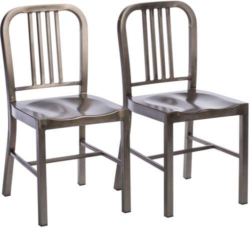 Vintage Metal Dining Chairs (Set Of 2)