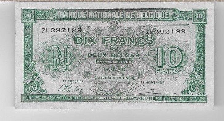 BELGIUM   -   PAPER MONEY   -   10 FRANCS