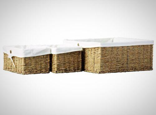 Storage Basket Set 3-pcs Sea Grass Versatility Utility Sturdy Home Organizers
