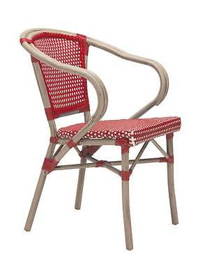 Dining Arm Chair in Red and White - Set of 2 [ID 3503334]