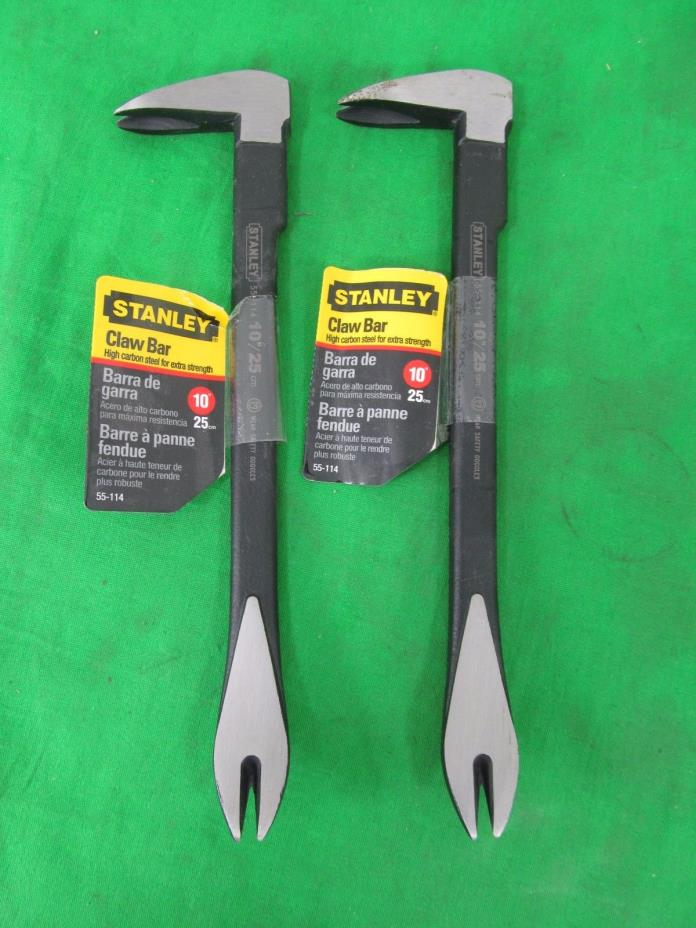 Lot of (2) NEW - Stanley 55-114 10-Inch Claw Bar - Mini Crow Bar