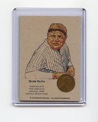 BABE RUTH 1934 Wheat Penny Oddball Baseball Card RARE