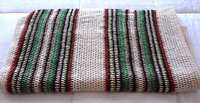 VTG Handmade Boho Crochet Afghan Blanket Throw Multi Color Striped 66