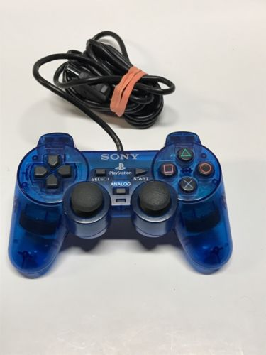 Original Sony PS2 PlayStation 2 Blue SCPH-10010 Dual Shock Controller, Genuine