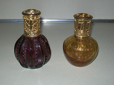2 Scentier Glass Catalytic Fragrance Lamps Metal Hardware Gold Flecks  & Purple