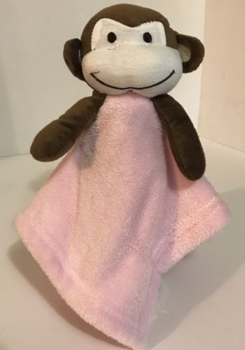 Beansprout Monkey Baby Security Blanket Pink Brown Plush Toy