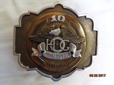 HARLEY-DAVIDSON HOG 10th ANNIVERSARY 1983 - 1993 BUCKLE