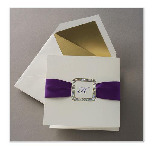 100 Foil Rhinestone Bling Buckle Wedding Invitations w/ Satin Ribbon, RSVP Set!