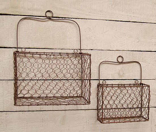 Rusty Chicken Wire Mesh Wall Baskets ~ Rustic Country Home Decor