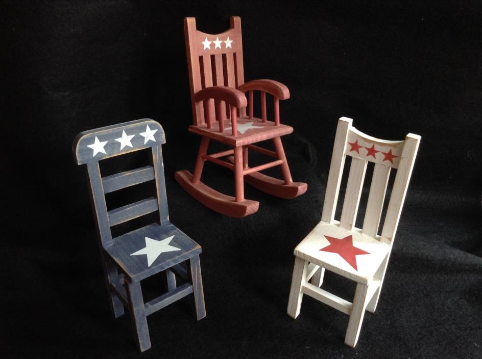 Set of 3 Americana Red White Blue Country Primitive Chairs Rocking 1:7 Scale