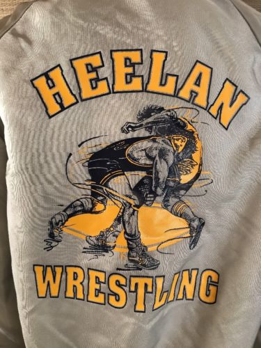 High School Sioux City Iowa XL VTG 90s Wrestling Singlet Heelan Letterman Jacket