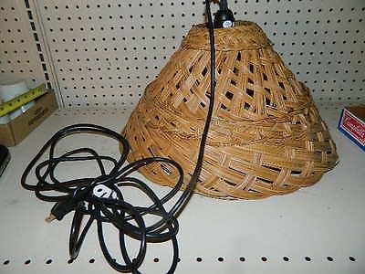 vintage Retro Wicker Rattan Hanging Lamp Chandelier