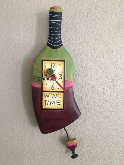 Allen Designs Red Wine `Wine Time` Pendulum Wall Clock MINT WORKING! Video Avail