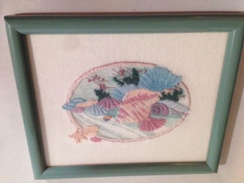 finished 3D Vintage~Seashells~Crewel Embroidery~Completed~ Framed 9 x 7
