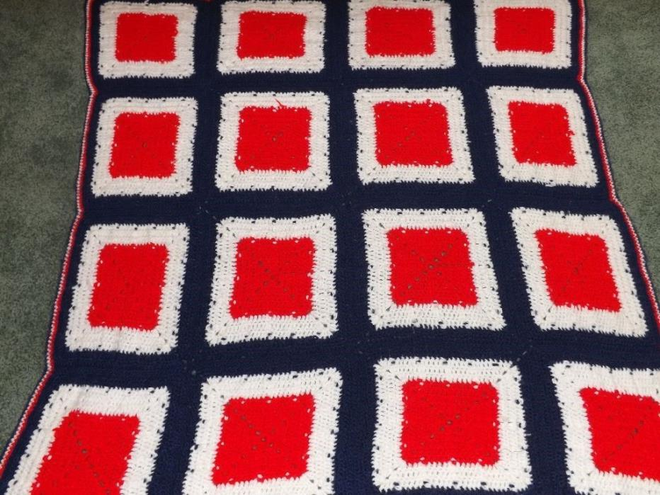 HANDMADE in USA Knitted Crocheted AFGHAN THROW 46x47
