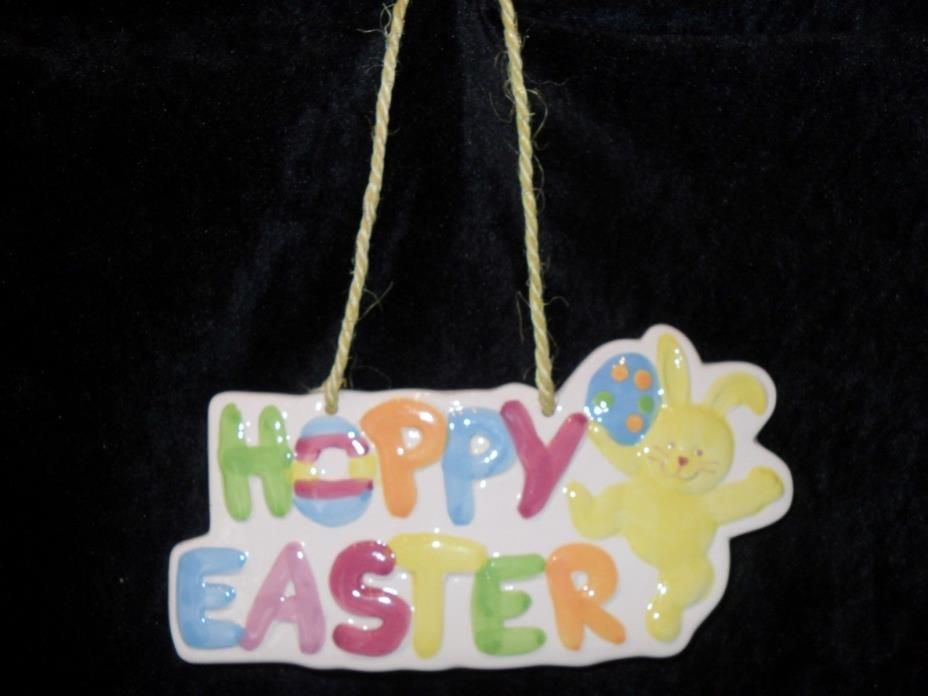 HOPPY EASTER Hanging Ceramic SIGN Plaque Multi-Color 8