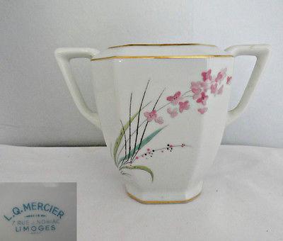 Limoges L Q Mercier Sugar Bowl with No Lid