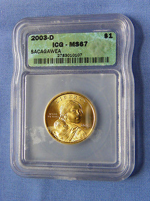 2003-D Sacagawea Dollar Coin ICG MS67 - 2783010107 - No. 001