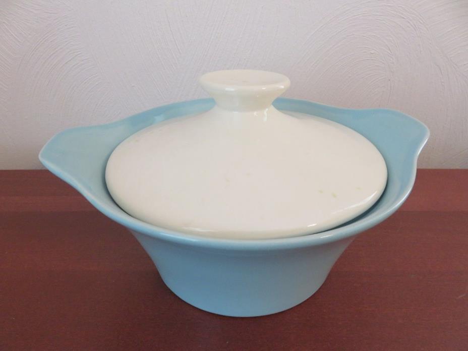 Vintage Shawnee Pottery Turquoise & White Covered Casserole Dish