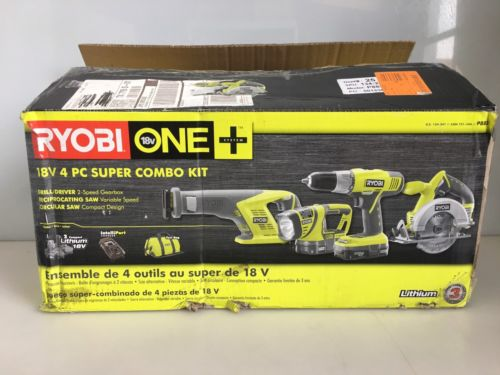 RYOBI P883 18V Super Tool Combo Kit 4-Piece Power Tools Combo Kit