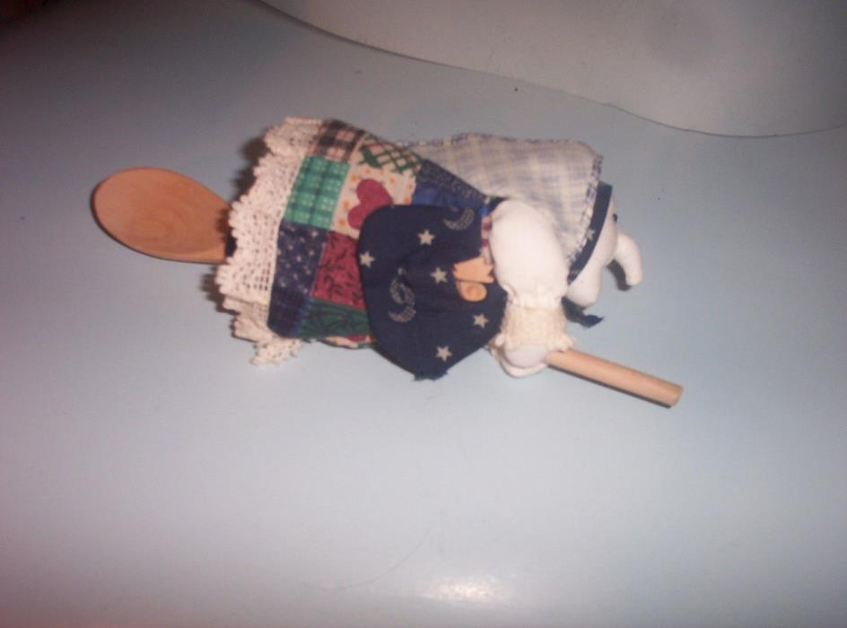 Vintage 1970's Kitchen Witch Doll-Good Luck-White Face-Mixing Spoon for Broom-NM