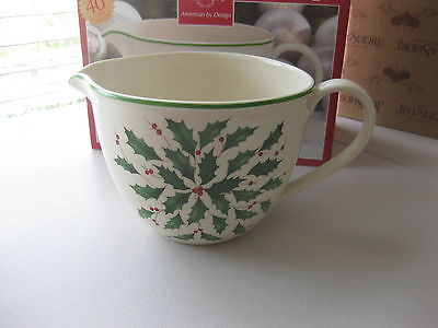 Lenox Batter Mixing Bowl with Pouring Spout NEW in Box WOW Holiday Pattern $80