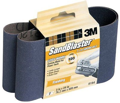 3M SandBlaster 9194NA 3-Inch by 24-Inch 120-Grit Finishing Power Sanding Belt
