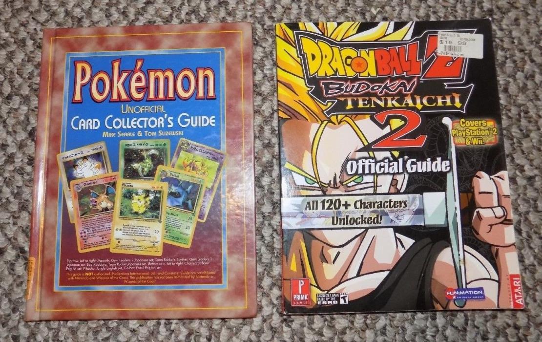 2 Books - POKEMON UNOFFICIAL CARD COLLECTORS GUIDE & DRAGONBALL Z BUDOKA TENKAIC