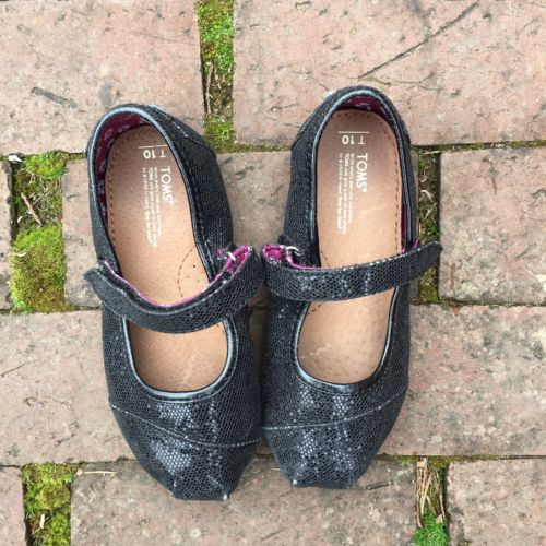 Tom's Toddler Girls Black Glitter Sparkle Mary Jane Velcro Shoes Sz 10