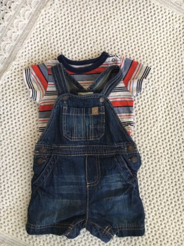 Baby Boy 3-6 Months Outfit Shirt And Jean Shortalls Genuine Oshkosh
