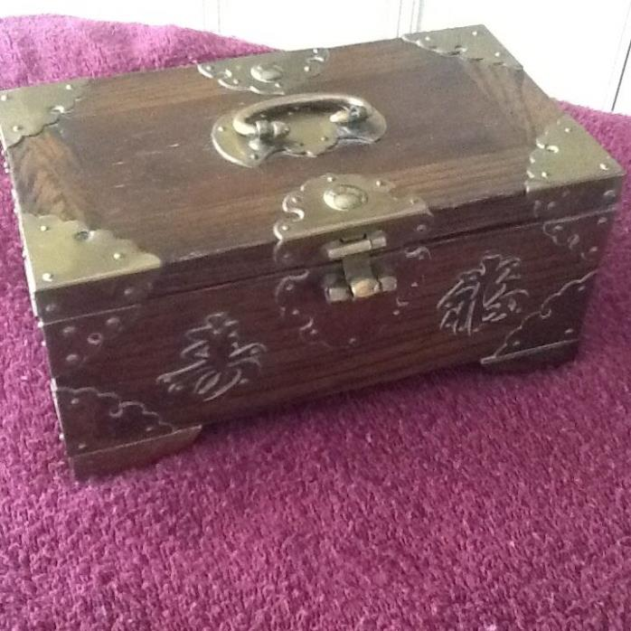 Vintage Chinese Wooden Box with Symbols