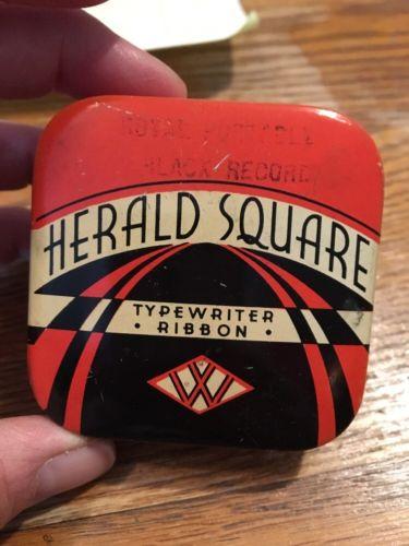VINTAGE HERALD SQUARE TYPEWRITER RIBBON TIN-PORTABLE REMINGTON