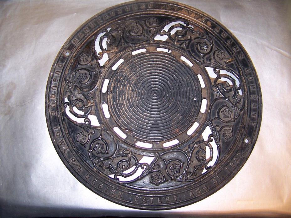 Antique Ornate Floor Grate Register Cast Iron Patent 1897 Adams Dubuque Iowa 3pc