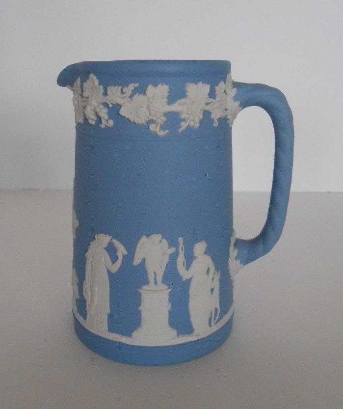 Vintage Wedgwood Blue & White Jasperware  5'' Water/Milk Pitcher Glazed Inside