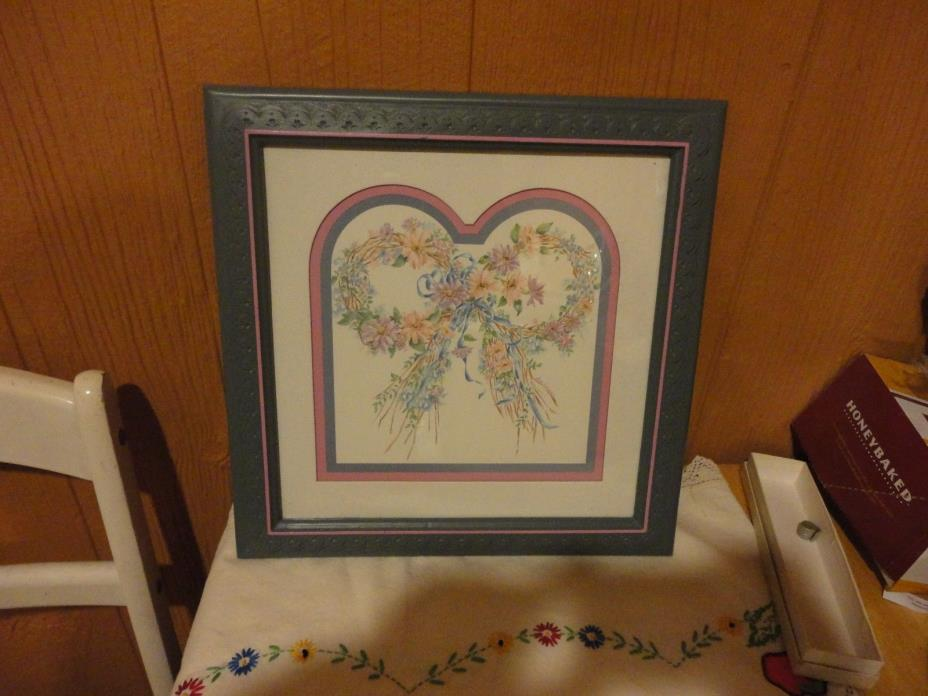 Vintage Home Interior Picture Blue Resin frame with Floral Ribbon Picture Signed